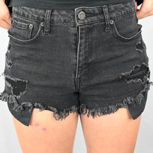 Aeropostale Black Raw Hem Denim Shorts SZ: 4